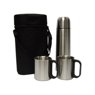 Stainless Steel Vacuum Flask with 2 Cups & Pouch