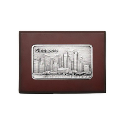 3D Pewter Wooden Name Card Box - Singapore