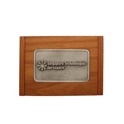3D Pewter Wooden Name Card Box with Hinges - Customised