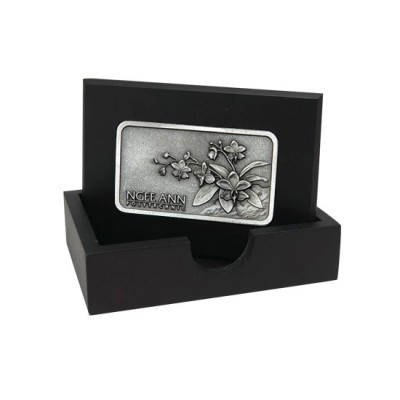 3D Pewter Wooden Name Card Box - Open Cover