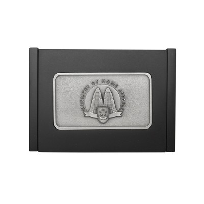 3D Pewter Wooden Name Card Box - With Hinges