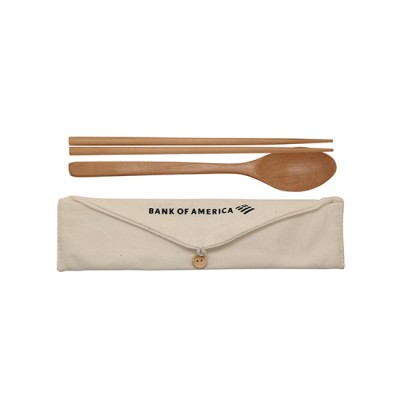 Eco Bamboo Cutlery Set with Pouch Set