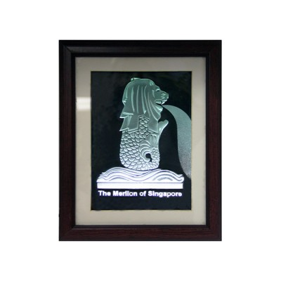 Litted Merlion with Wooden Frame