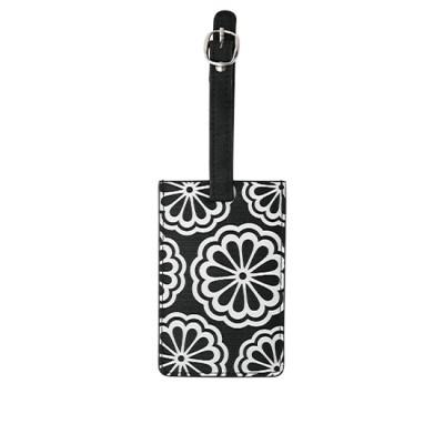 DQ-Bag Tag Cool Blk White Flower