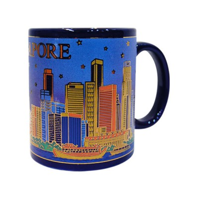 10oz Ceramic Blue Mug - Merlion/Buildings