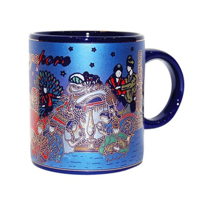 10oz Ceramic Blue Mug - Merlion/Four Religion