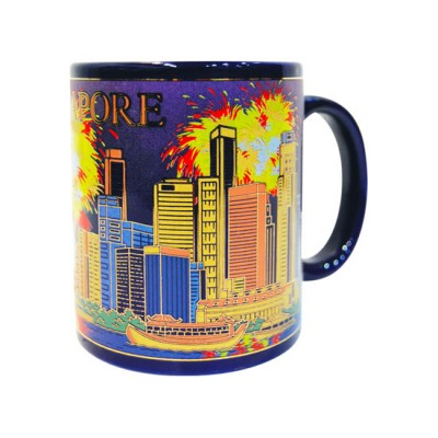 10oz Ceramic Blue Mug - Merlion/Fireworks