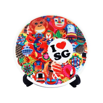 """4"""" Ceramic Plate with Stand - I Love SG"""