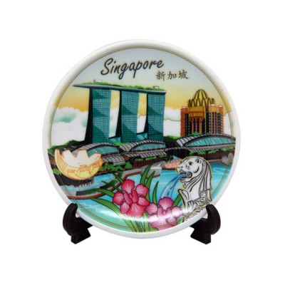 """4"""" Ceramic Plate with Stand - Marina Bay Sands"""