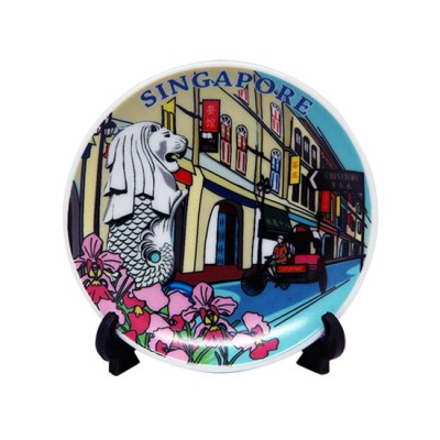 """4"""" Ceramic Plate with Stand - Singapore Chinatown Shophouses"""