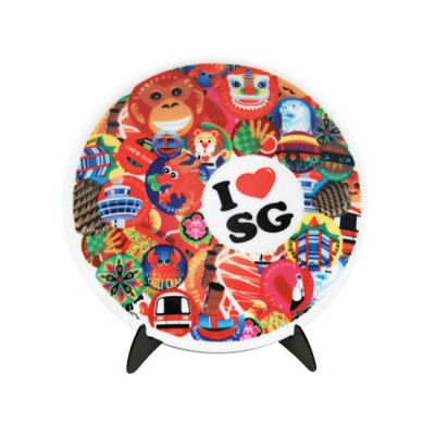 """6"""" Ceramic Plate with Stand - I Love SG"""