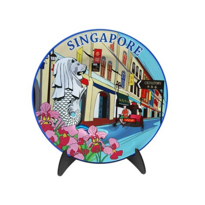 """8"""" Cobalt Blue Plate with Stand - Singapore Chinatown Shophouses"""