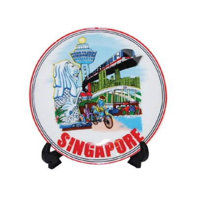 """4"""" Ceramic Plate with Stand - Merlion/MRT"""