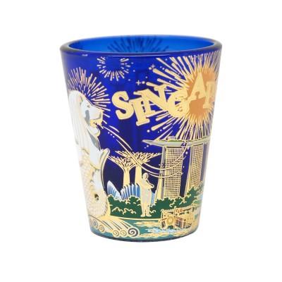 Cobalt Blue Shot Glass with Gold Foil - Fireworks