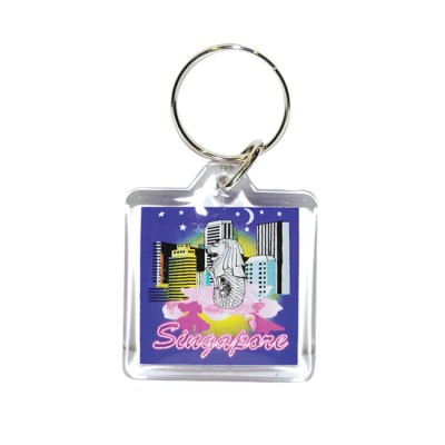 Acrylic keyring - Buildings/Merlion/Orchid