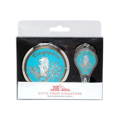 Merlion Mirror with Nail Clipper Set - Light Blue
