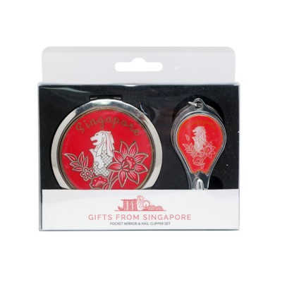 Merlion Mirror with Nail Clipper Set - Red