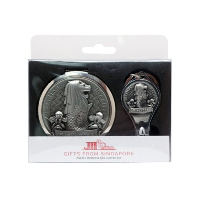 Merlion Mirror with Nail Clipper Set - Silver