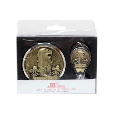 Merlion Mirror with Nail Clipper Set - Gold