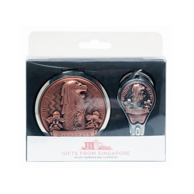 Merlion Mirror with Nail Clipper Set - Bronze
