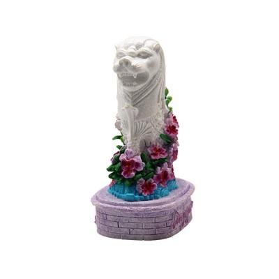 "4"" Merlion Statue with Purple Vanda"