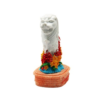 """4"""" Merlion Statue with Red/Yellow Orchid"""