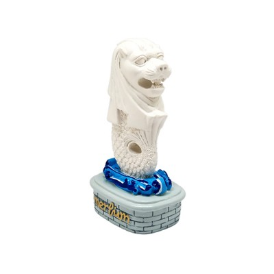 """4"""" White Merlion Statue with Blue Wave Base"""