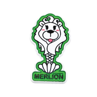 Rubberised Magnet -  Envious Female Merlion on Green Background
