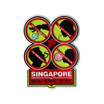 Rubberised Magnet -  Fine City (Green - Four Signs)