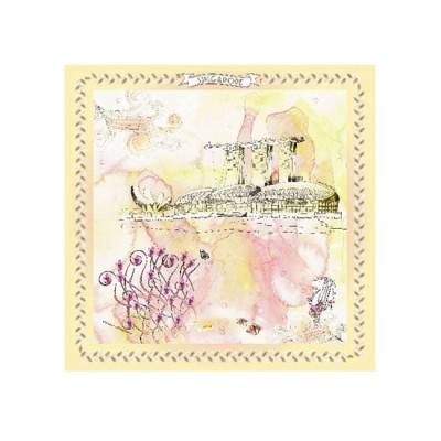 Scarf -  Marina Bay Sands with Orchids (55x55)