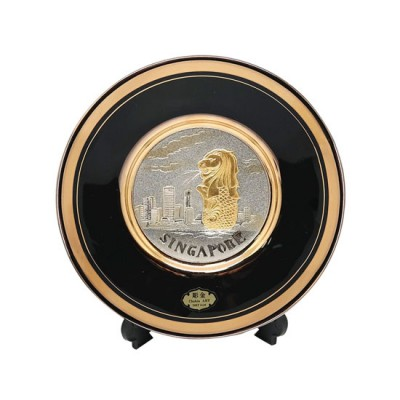 """3"""" Merlion Chokin Round Plate with Display Stand 