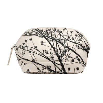 Cotton Cosmetic Pocuh with Inner PVC Lining  - New Leaves 8 (Black)