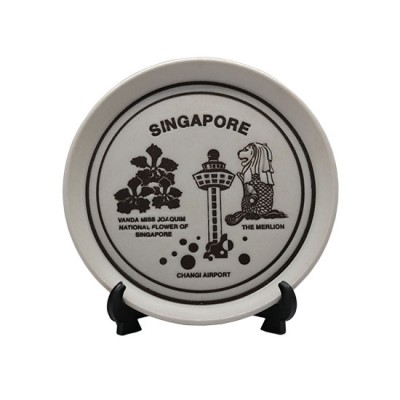 """5"""" Singapore Design Merlion Museum Airport Round Plate with Stand 